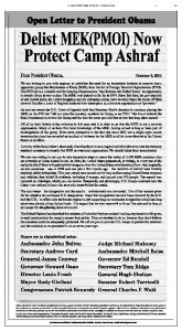 New York Times: Delist MEK (PMOI) Now, Protect Camp Ashraf